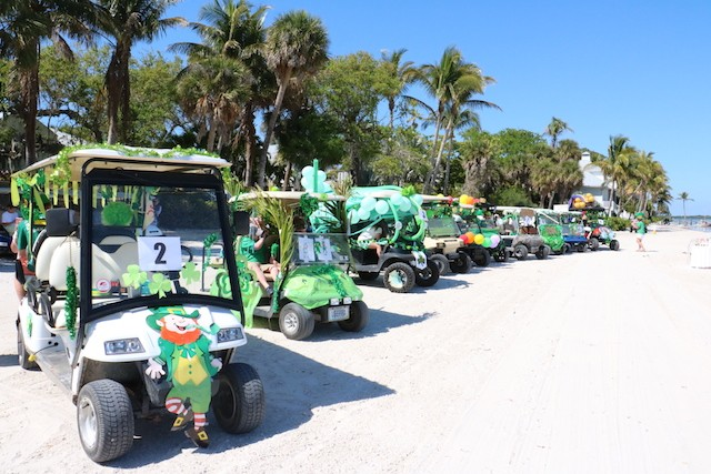 St. Patrick's Day 2018 | Useppa Island on dirt golf cart, beer on hot tub, circus golf cart, beer on computer, carnival golf cart,
